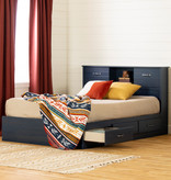 "South Shore Asten Full Size Mates Bed (54"") with 3 Drawers, Blueberry"