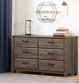 South Shore Asten 6-Drawer Double Dresser, Fall Oak