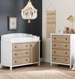 South Shore Cotton Candy Changing Table with Station, Pure White and Rustic Oak