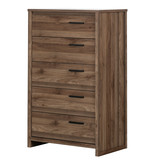 South Shore Lensky 5-Drawer Chest, Natural Walnut