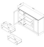 South Shore Lilak 4-Drawer Dresser with Doors, Winter Oak