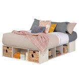 """South Shore Lilak Full Size Storage Bed (54"""") with Baskets, Winter Oak and Rattan"""