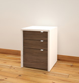 Nexera 3-Drawer Filing Cabinet, White & Walnut, Liber-T
