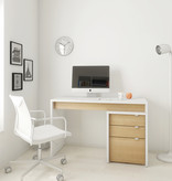 Nexera Chrono Filing Cabinet with 3-Drawers, White and Natural Maple