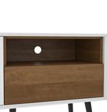 Bestar Alga TV Stand, 63-inch, White and Walnut Brown