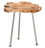 !nspire Pari Accent Table, Natural and Chrome