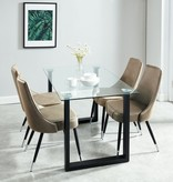 WHi Franco/Silvano 5pcs Dining Set, Black and Taupe