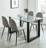 WHi Franco/Olly 5pcs Dining Set, Black and Grey