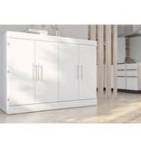 "Bestar Lit cabinet double (54"") avec matelas, blanc, collection Nebula"
