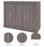 """Bestar Lit cabinet double (54"""") avec matelas, gris écorce, collection Nebula"""