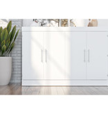 "Bestar Lit cabinet queen (60"") avec matelas, blanc, collection Nebula"