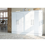 """Bestar Lit cabinet double (54"""") avec matelas, blanc, collection Pur"""