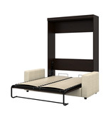 Bestar Pur Full Wall Bed and Sofa Set, Chocolate & Tan