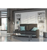 Bestar Pur Full Wall Bed, Two Storage Units and Sofa Set, White & Grey