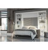 Bestar Lit escamotable double, unités de rangement et canapé, blanc, collection Pur