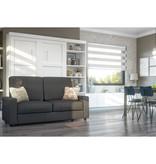 Bestar Lit escamotable double, unité de rangement et canapé, blanc, collection Pur