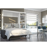 Bestar Pur Full Wall Bed, Storage Unit and Sofa Set, White & Grey