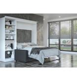 Bestar Lit escamotable double, unité de rangement et canapé, blanc, collection Versatile