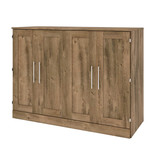 """Bestar Pur Full (54"""") Cabinet Bed with Mattress, Rustic Brown"""