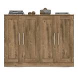 """Bestar Lit cabinet double (54"""") avec matelas, brun rustique, collection Pur"""