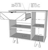 Nexera Gossip Sideboard, Greige and Russian Birch Plywood