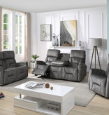 Cazis Barcelona Electric Rocking, Swivel, and Recliner Chair, Marble Grey Fabric
