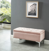 !nspire Clare Storage Ottoman, Blush and Silver