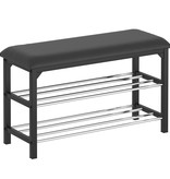 WHi Foster 2 Tier Shoe Bench, Black