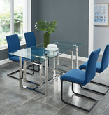 """!nspire Eros Dining Table (36"""" x 71""""), Silver"""