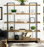Primo Duluth 5-Shelves Bookcase, Mango Wood and Black Metal
