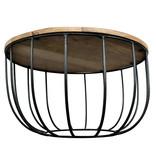 Primo Barrel Coffee Table, Natural Mango Wood and Black Metal