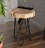 Primo Table d'appoint, bois d'acacia et métal noir, collection Timber