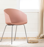South Shore Flam Chair with Metal Legs, Pink and Silver