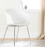 South Shore Flam Chair with Metal Legs, White and Silver