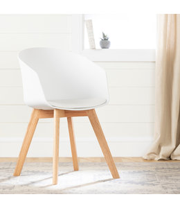 South Shore Flam Chair with Wooden Legs, White