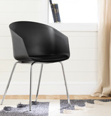 South Shore Flam Chair with Metal Legs, Black and Silver