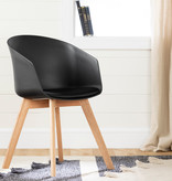 South Shore Flam Chair with Wooden Legs, Black