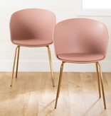 South Shore Flam Dining Chairs,  Set of 2, Pink and Gold