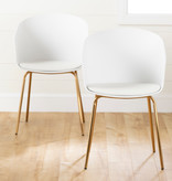 South Shore Flam Dining Chairs,  Set of 2, White and Gold