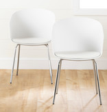 South Shore Flam Dining Chairs,  Set of 2, White and Silver