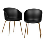 South Shore Flam Dining Chairs,  Set of 2, Black and Gold