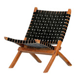 South Shore Balka Woven Leather Lounge Chair, Black