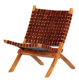 South Shore Balka Woven Leather Lounge Chair, Auburn