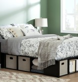 """South Shore Flexible Full Size (54"""") Bed with Storage and Baskets, Full, Black Oak and Taupe"""