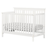 South Shore Little Smileys Modern Baby Crib,  Adjustable Height Mattress with Toddler Rail, Pure White