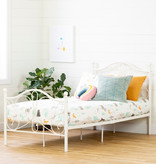 """South Shore Country Poetry Complete Metal Platform Bed, Twin (39""""), White"""