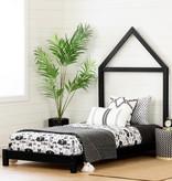 """South Shore Lit simple (39"""") avec tête de lit maison Noir mat, collection Sweedi"""
