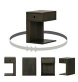 South Shore Table de chevet 1 tiroir en bois massif Bois Noir, collection Sweedi