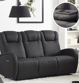 Cazis Marseilles Electric Recliner Sofa, Grey Charcoal Fabric