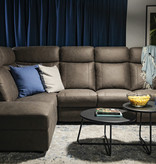 Cazis Bordeaux Reclining Sectional with Right Long Chair and Storage, Brown Faux Suede